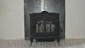 мощная отопительная печь jotul f600bp, дымоход в стене