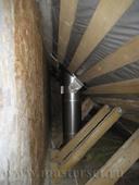 печная труба проходит в закрытом пространстве ската на чердаке