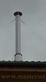 нерж дымоход с растяжкой на крыше металлочерепица
