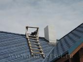 дымоход tona на крыше, оштукатурен, гидроизоляция по мягкой кровле