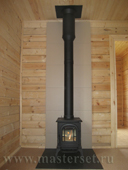 чугунная печка vc aspen с дымоходом в чёрной термокраске