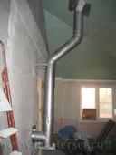 монтаж модульного дымохода сендвича через стену, с тройником и конденсатосборником